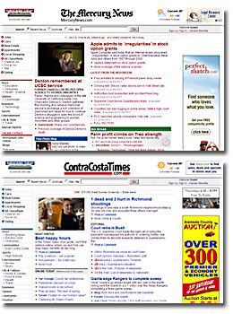 Mercury News Contra Costa Times web pages