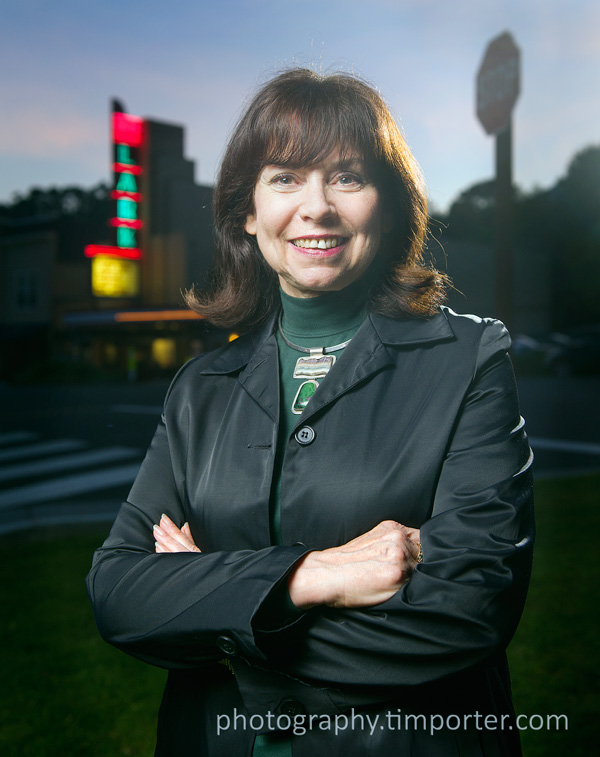 Bernice Baeza, photographed in April 2011 outside the Lark Theater in Larkspur for Marin Magazine.