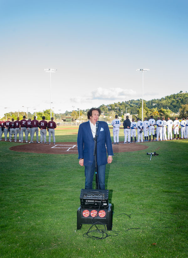Bud E. Luv sings the national anthem at Opening Day for the San Rafael Pacifics.