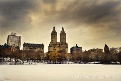 Upper West Side of New York seen from snowy Central Park