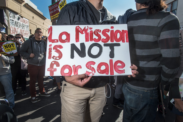 Anti-gentrification protest in the Mission.