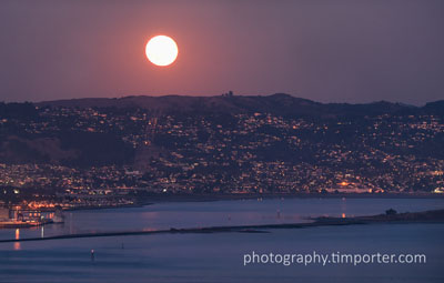 Moonrise over East Bay hills from Tiburon